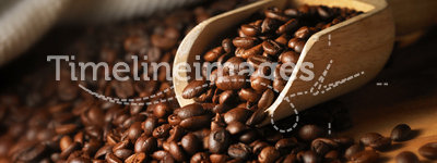 Coffee bean. Closeup of coffee beans with scoop in mood lighting