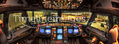 Airbus A330 Cockpit at night