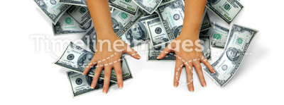 Money hands. Female arms grab a lot of money on a white background. Concept for winnings or keeping money