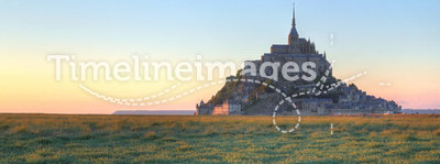 Mont Saint Michel at sunset, France