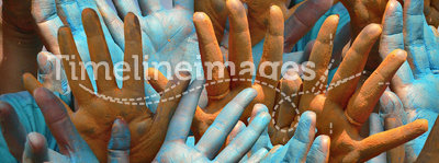 Holi - Colorful Human Hands