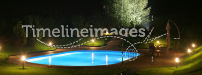 Patio and Pool by Night-3