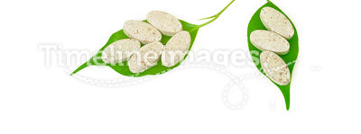 Natural supplement pills and fresh leaves