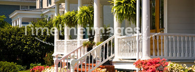 White Victorian porch