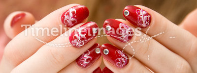 Red woman nails