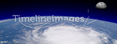 Hurricane. View from space of a giant hurricane over the ocean with moon in background. Original photo of Earth is provided by NASA under their terms of use( and