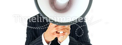 portrait of man with megaphone