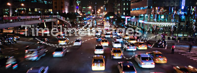 Asian Traffic Scene at Night