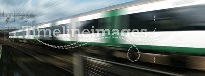 Railway train at speed