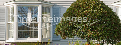 Landscaping near bay window. Autumn flower gardening and landscaping beside a house with a large bay window