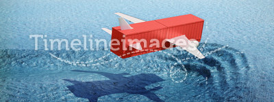 Container flying over the ocean's surface