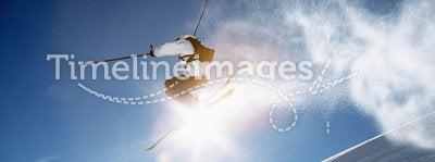 Skier jump winter
