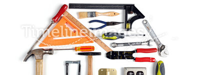 House Made of Tools. Over white background