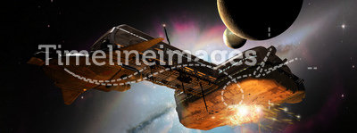 Battleship in space. Close to a planet near a colored nebula, several spaceships attack a big space cargo