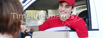 Postal delivery courier delivering