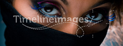 Woman portrait with multicolored  make-up