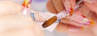 Beauty salon: Manicure, painting on nail