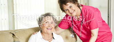 Lunch at the Nursing Home. Friendly nurse brings a mean to an elderly shut-in. Could also be lunch time at the nursing home