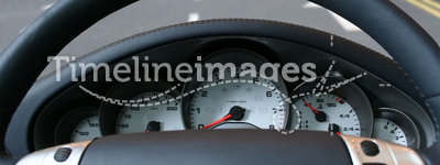 Fast sports car - steering wheel