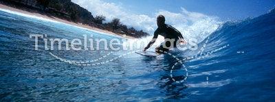 Surfing a Bodyboard in Blue Hawaii