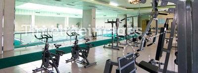Gym. Fitness gym hall in luxury hotel