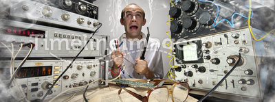 Funny nerd scientist. Soldering at vintage technological laboratory