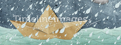 Origami paper boat recycled paper craft