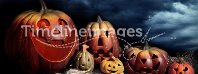 Halloween pumpkins at night