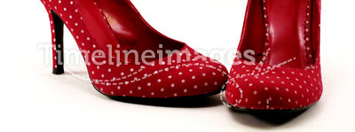 Red polkadot high heels #1