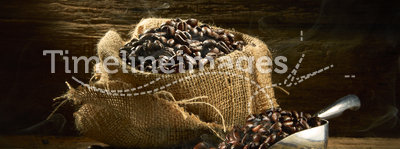 Coffee Beans. Fresh roasted coffee beans on beautiful wonden table