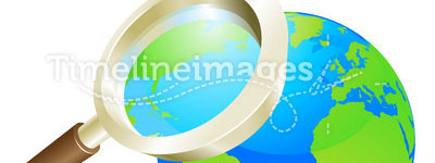 Magnifying glass world earth globe concept