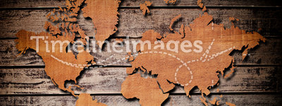 Vintage world map with vintage wood texture.