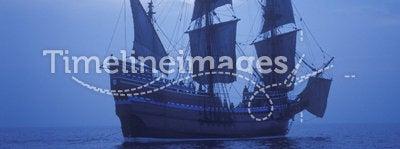 Replica of Mayflower Ship. 1620 Mayflower II replica Pilgrims Sail to New World