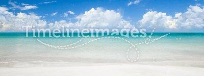 Tropical beach at summer sunny day.