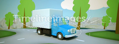 Cartoon delivery truck