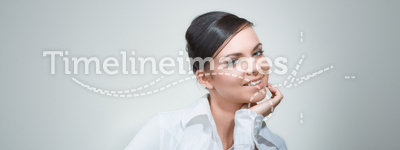 Beauty woman in office reading book and note