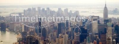 Hazy New York City skyline