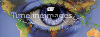 A view on the world. A child's eye looks at the world