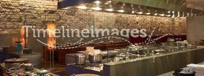 Kitchen interior. Luxurious modern kitchen interior with full equipment