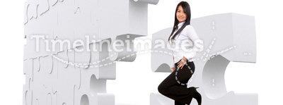 Business girl with puzzle
