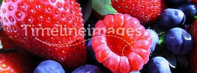 Summer Berries. A collection of Summer berries, strawberries, blueberries, and raspberries