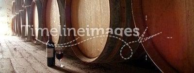 Bottle of wine on cellar floor