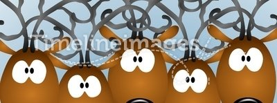 Cartoon Reindeer Christmas Card