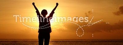 Silhouette woman sunrise