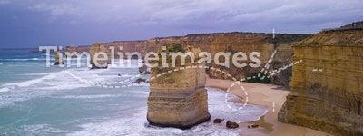 12 apostles. Eroded cliffs - stacks in ocean waves, Victoria, Australia