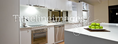 Clean Modern Kitchen. A Clean White Modern Kitchen