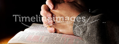 Hands Praying Bible Man