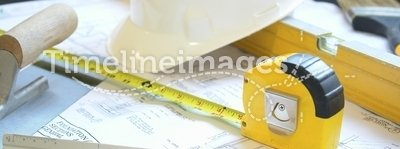 Engineering. Hard hat, blueprints and tools used in engineering and construction