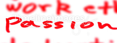Passion. Written in red with marker