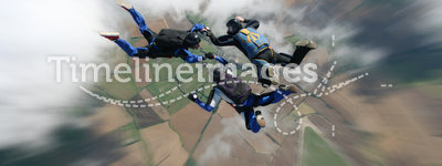 Skydivers in freefall